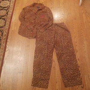 RALPH LAUREN cheetah print 2 piece pajama set S